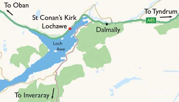 Argyll Things to Do St Conan Kirk Lochawe Map