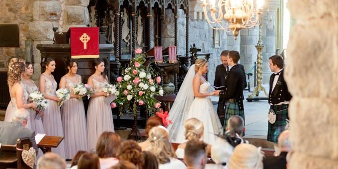 Wedding ceremony in stunning wedding venue